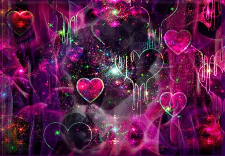 heartly there - abstract, love, hearts, pink