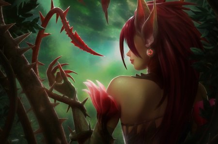 Poison Elf Girl - claw, long hair, poison, red hair, earring, fantasy, elf, poison elf girl, smile
