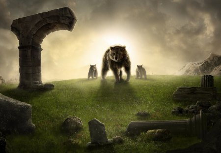 Mother Bear - light, bear, animals, ruins, mother, art, cub, family