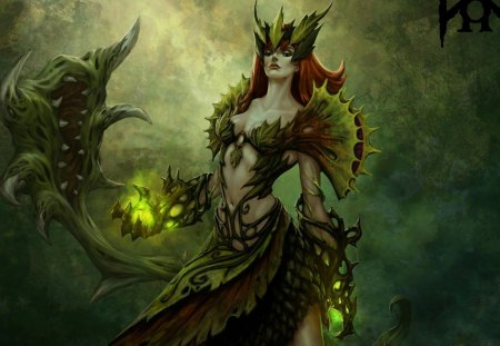 Dark Magic - monster, zyra, magic, fangs, girl, dark, weapons, plants, league of legends, fantasy