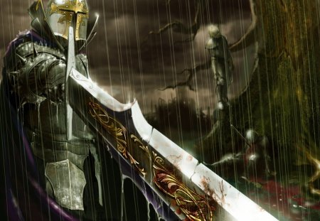 Knight In The Rain - rain, cool, nobal knight, sword, knight in the rain, silver knight, warrior knight
