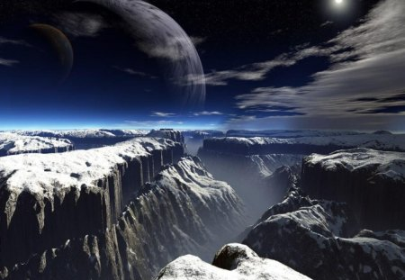 sky horizon - divided mountains, starts, night, moon