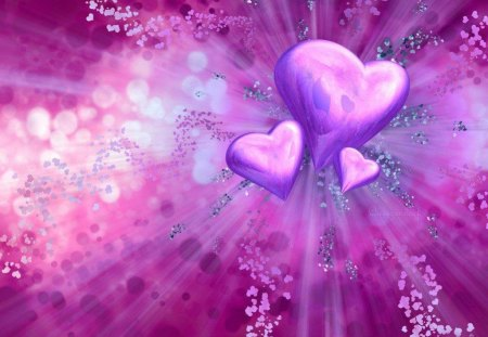hearts of love - abstract, purple, hearts, pink