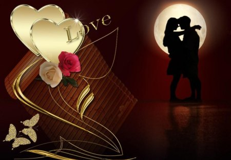 love wallpaer - couple, butterflies, hearts, moon