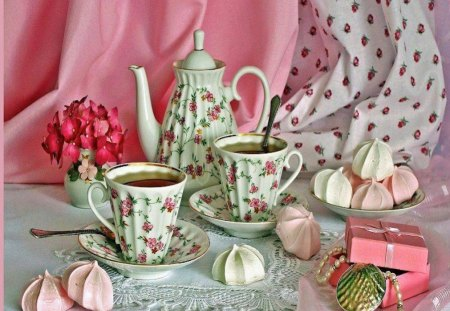 Lovely & Dainty Tea Setting - cookies, rose, flowers, tea, pink, art, teacup, photography, still life, teapot