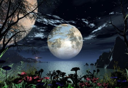 fantasy night - abstract, fantasy, sky, moon