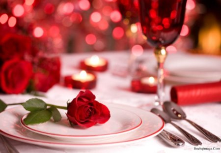 Only for a Special Person - romantic, rose, diner, candle
