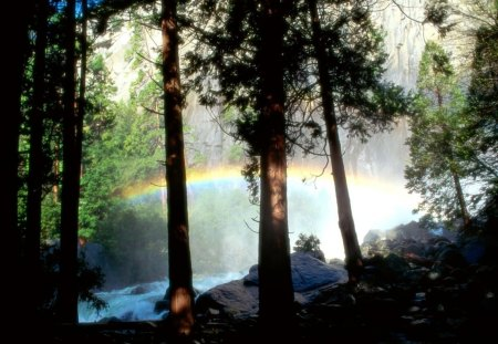 rainbow in a forest river - forest, rainbow, river, cliff