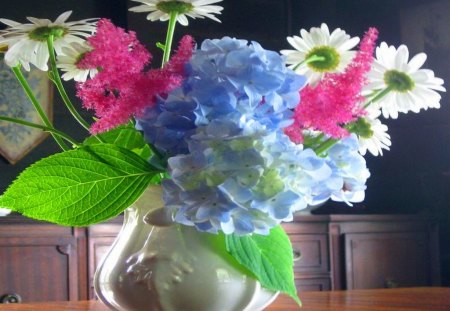 Pretty summer collection - daisies, hydrangea, pink, white, blue, green leaves, vase