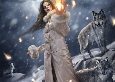THE GIRL WILL LEAD THE WOLF - girl, abtract, fire, fantasy, wolf