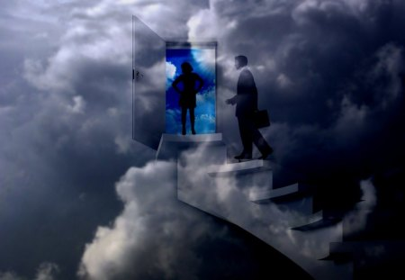 Home Sweet Home - couple, male, stairs, female, success, home, clouds, smart aleck, office, wahab hameed, steps, sweet