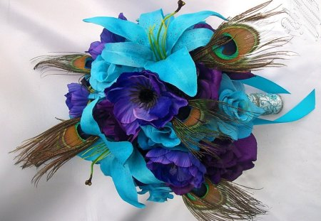 Talana's favs - floral deco, turquoise, purple, feathers