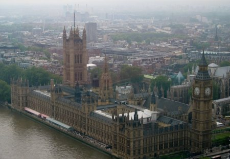 View from London Eye - towers, Monuments, photography, river, clock, palace
