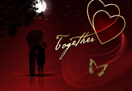 together forever - couple, butterfly, hearts, moon