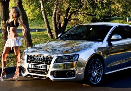 Audi S5 - fantastic, amazing, beautiful, road, model, audi s5, great, adorable, pretty, girl, nice, woman, awesome, picture, street, car, cars, outstanding, trees, marvellous, audi, car babe, wonderful, silver, super, wallpaper, stunning, park, skyphoenixx1, nature