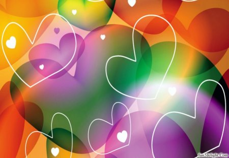 MANY HEARTS - wallpaper design, fantasy cg, abstract, hearts, colours