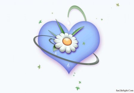 SERENITY - flowers, daisies, ribbons, peace, blue, love, hearts, cg
