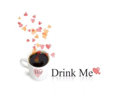 CUP OF STEAMING LOVE - coffee, hearts, food, refreshment, drinks, love, steam, warmth, romance