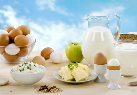 Good Morning - butter, fantastic, amazing, knife, beautiful, breakfast, great, adorable, abstract, pretty, bread, good morning, nice, awesome, lunch, picture, meal, muesli, outstanding, marvellous, wonderful, table, super, wallpaper, stunning, photography, eggs, skyphoenixx1, apple, milk