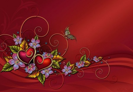 3d heart and butterflies - 3d, butterflies, red, hearts