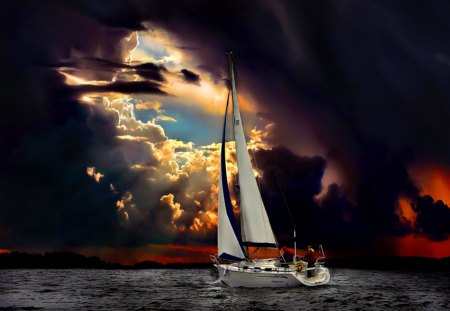 Perfect storm - people, evening, twilight, night, water, boat, sky, waves, sailboat, perfect, clouds, storm, sailing, sea, sun, ocean, dusk