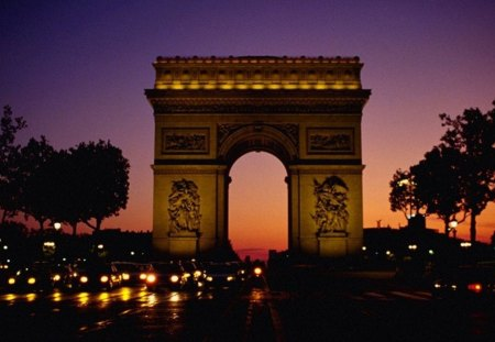 Arc de Triomphe - paris, monument, history, night