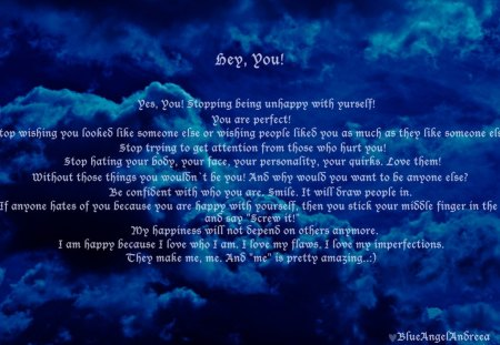 Hey, You! - love, imperfection, flaws, me