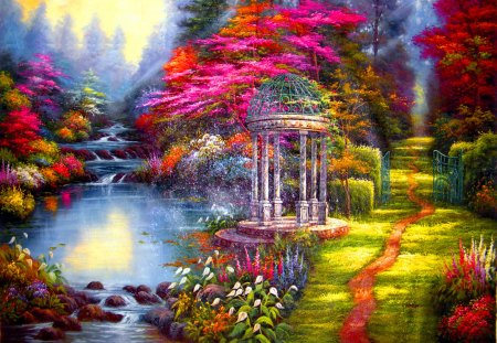 The garden of prayer - pond, painting, nice, romantic, prayer, nature, lovely, grass, park, gasebo, garden, colors, colorful, lake, beautiful, flowers, pretty, sky