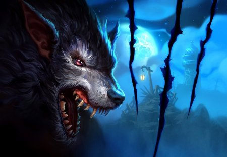 Moon Wolf - fantastic, amazing, beautiful, werewolf, great, adorable, abstract, art, pretty, night, nice, moon wolf, artwork, awesome, picture, fantasy, outstanding, marvellous, wonderful, super, wallpaper, stunning, moon, skyphoenixx1, wolf