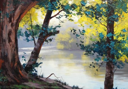 Forest Painting - painting, nature, forest, jungle
