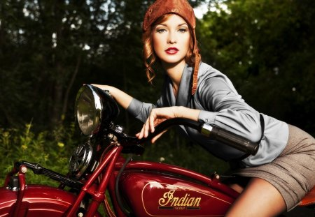 Retro Ride - helmet, woman, leather, cycle, hat, vintage, girl, motor, motorcycle, beautiful, retro, pretty, indian, classic, lady, skirt