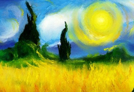 Impressionist painting - trees, field, cloud, painting, sun, nature