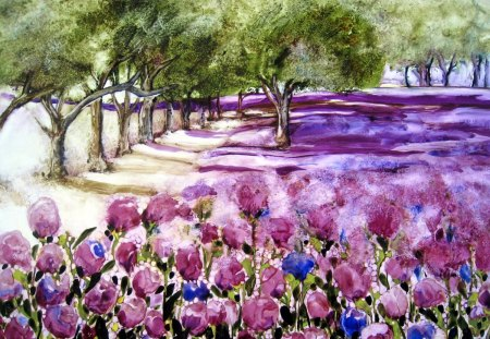 Beautiful painting - flowers, trees, painting, nature, path