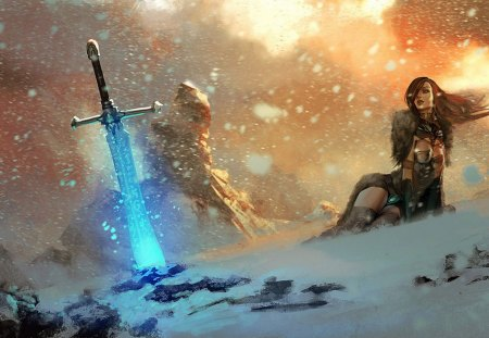 Magic Sword - armor, blue, art, beauty, magic, girl, woman, sword, fantasy, princess