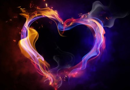 HEARTS AFLAME - flames, hearts, fire, valentine, purple, romance, smoke, love