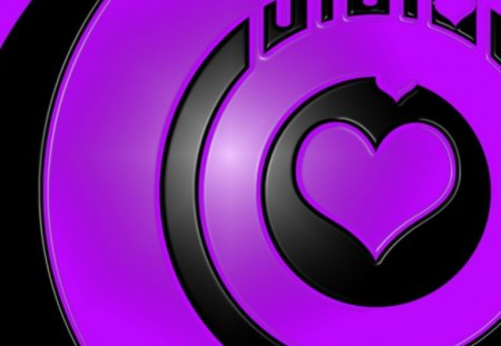 purple heart - purple, hearts, heart, black