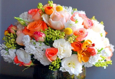 Brighten your day - flowers, white, colors, pink, green, red, yellow