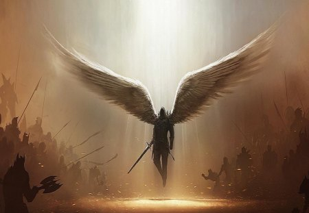 And God Said No More - light, armies, wings, swords, war, angel, bright light, fantasy