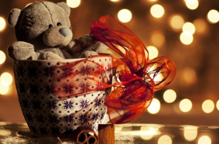 Teddy Bear Gift - bear, stuff, toy, photo, lights, ribbon, gift, teddy