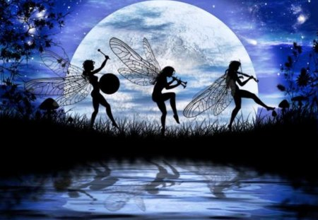 Dancing Elfs - water, fairies, artwork, moon, sky, night
