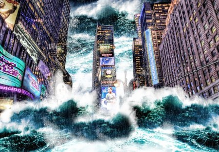 wallpaper tsunami - wallpaper, times square, digital art, tsunami, new york
