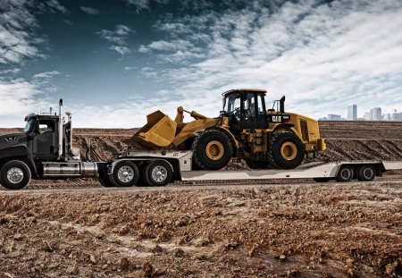 Caterpillar Transport - trailer, yellow, earth mover, rig, photoshop, tractor trailer, truck, flat bed, front end loader, low boy, drop deck, black, transport, loader, heavy equipment, construction, heavy, photography, cat, caterpillar 966h front-end loader, tires, caterpillar transport truck