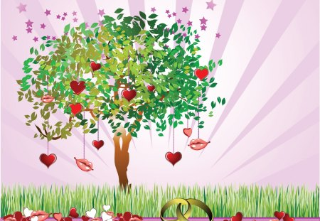 The love tree - valentine, love, tree, romantic, hearts, lips, kiss, wedding
