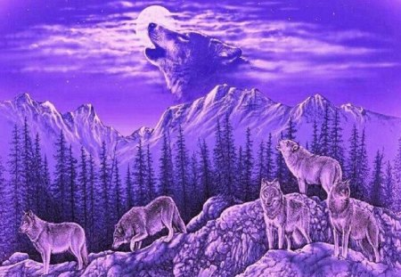 Purple Majesty - wolves, animals, sky, abstract, fantasy