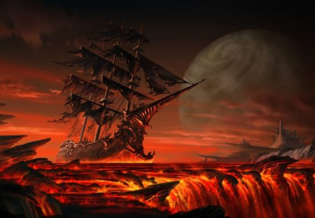Ghost Ship From Hell - glow, magma, burning, sail, ghost, boat, inferno, lava, tattered, hell, sea of flames, lake of fire, flare, flames, smoke, heat, molten, hearth, blaze, ship, fire, sea, navy, searing, warmth, ocean
