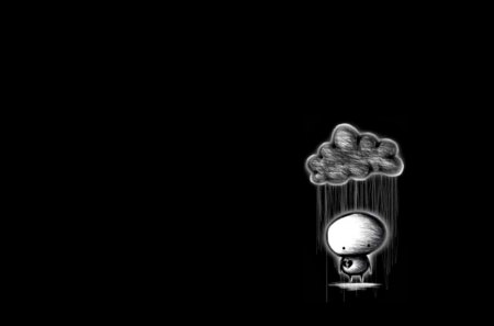 Dark Sad Rain Cloud - new, rain cloud, alone, cloud, emo, rain, dark, lonely, 3d, pain, sad, scene