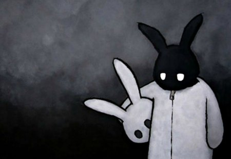 Sad Dark Bunny ~ - new, darkness, wall, emo, dark, bunny, white and black, sad, scene