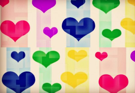 Cubed Hearts - colorful, heart, cubed, hearts