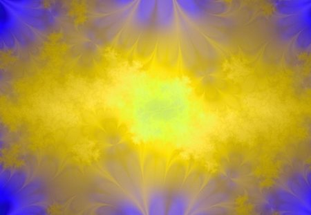 Light Burst - light, blue, burst, abstract, fractal, yellow
