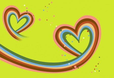 Rainbow Hearts - pink, abstract, colors, blue, hearts, yellow, white, bubbles, red, rainbow